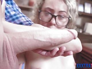 Small Teenage Blonde In Specs Sucks Cock