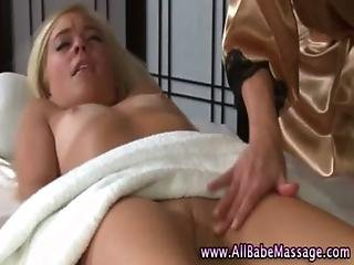 Lesbian masseuse licks and fingers client