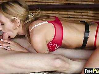 Blondie Polishes A Clients Big Hard Dong With Her Throat