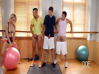 Ass, Blonde, Blowjob, British, College, Deepthroat, Gym