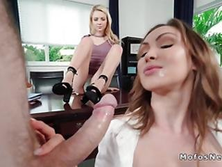 Boss Bangs Secretary With Nasty Wife
