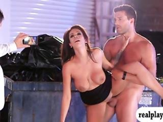 Lusty Busty Brunette Waitress Screwed At The Dump Area