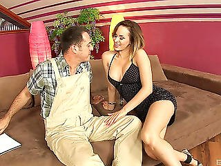 Plumber And A Lusty Hotty With Large Love Muffins Fucking