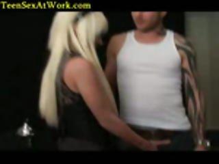 Blond Hottie Get Bored At Work