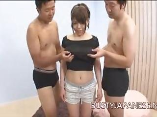 Two Guys Playing With Japanese With Big Tits