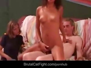 Lucky Repairman Gains Nice Fuck After Two Sluts Catfights
