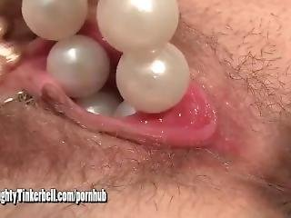 Filthy Blonde Naughty Tinkerbell Orgasms With Extreme Insertion Toys Beads