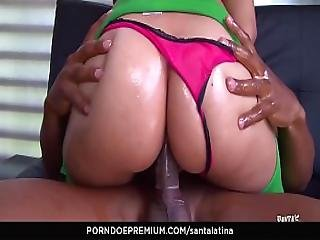Santa Latina - Sexy Colombian Teen Brunette Gets Oiled Up And Banged Hard
