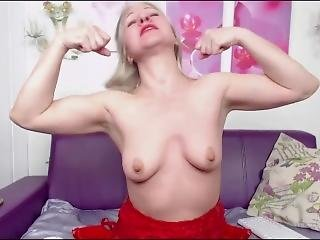 Sexy Milf With Great Biceps Flexes And Makes Sex Noises