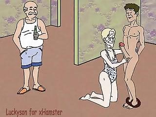 Grandma, Grandson And Cuckold Grandpa! Porn Cartoon
