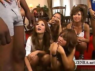 Subtitled Group Cfnm Japanese Tan Gyaru And Black Model