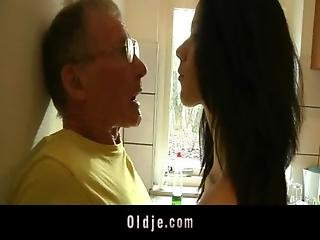 Blowjob, Brunette, Cumshot, Facial, Fucking, Kitchen, Lick, Mature, Old, Older Man, Pussy, Sucking, Tall, Teen, Young