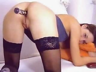 Hot Girl With Black Stockings Play With Dildo In The Ass