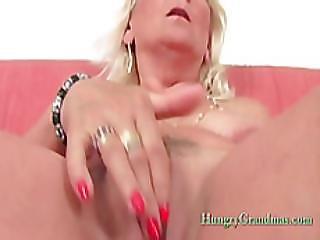 Blonde Granny Linda Loves Solo Play