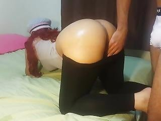 Molly In Leggins Fucks The Neighbor After Doing Exercises, Milk On Pants