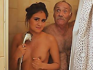 Big Ass Brunette Gets Her Pussy Fucked And Licked By A Grandpa
