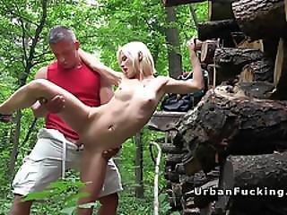 Sexy Shy Blonde Fucks In Woods Pov