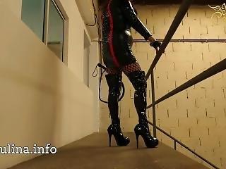 High Heels Lack Overknee Boots Mistress Herrin Carmen M. Peitsche Whipping