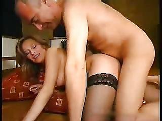 Old Man And Blonde In A Sexy Lingerie