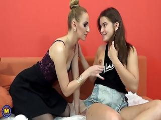Mother And Her Girl Sharing A Big Cock