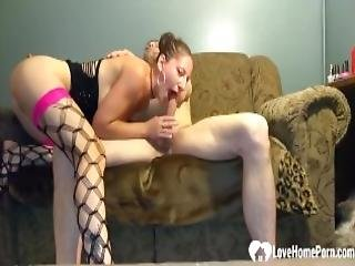Girl In Stockings Rides A Dick On The Couch