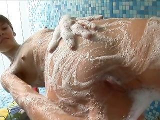 Skinny Brunette Teen Showering