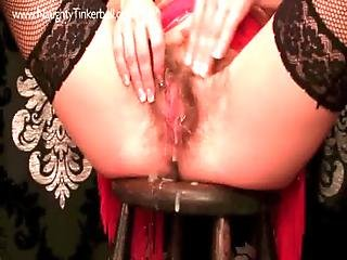 Bizarre Large Whisk Inserted Into Pierced Hairy Pussy. Grosse Insertionen