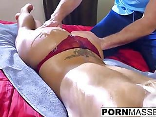 Horny Blonde Babe Nina Elle Cant Resist Taking Masseurs Cock