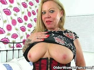 British Granny Camilla Feels Sexy In Nylons And Decides To Get Off