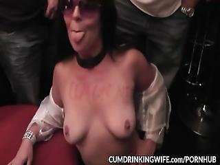 Naughty Gangbang Wife Swallows Dozens Of Cumshots