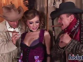 Seductive Euro Babe Seduced Two Hung Stallions And Let Them Hammer Her Holes