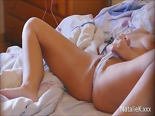 Spying Through Bedroom Door To Masturbating Natalie K On Bed