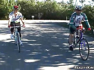 Sexy Milf Riding A Bicycle On A Way To Have Sex