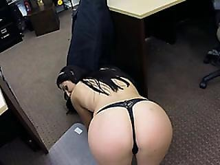 Sexy Long Legged Brazilian Lady Gives The Pawnshop Owner A Hot Great Blowjob