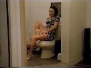 anal, asiatique, salle de bain, black, tâlons, tâlons hauts, insertion, masturbation, solo, toilettes, jouets, taillée, vaginal