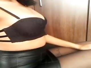 Black Leather Skirt And Black Pantyhose