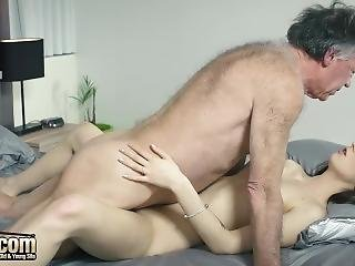 Hairy Grandpa Fucks Teen Shoves His Cock Inside Her And She Loves It