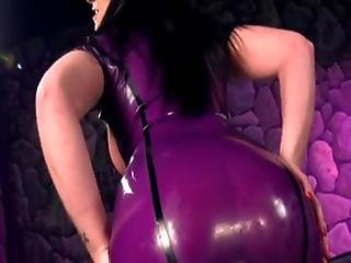 Girl In Purple Latex Gives Jerk Off Instructions