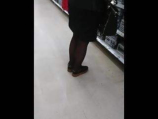 Upskirt Black Pantyhose Mature Woman