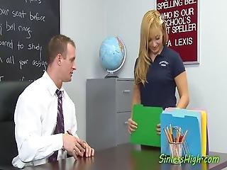 Gorgeous Blonde Cheerleader Sucks Her Teachers Cock