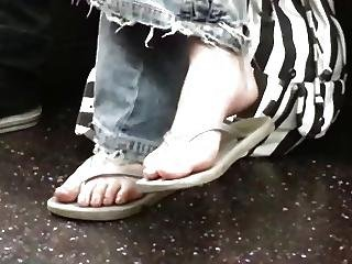 Candid Nerdy Teen Flip Flop Feet Shoeplay On Bus