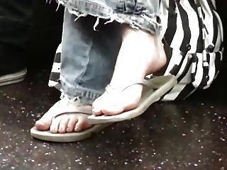 Candid Nerdy Teen Flip Flop Feet Shoeplay On Bus