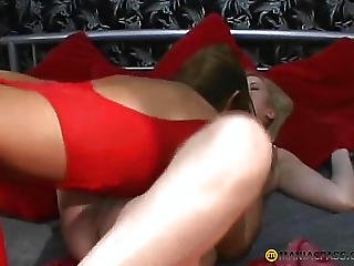 The Girl In A Red Bathing Suit Kisses Slut