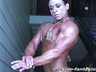 Very Built Woman Flexing And Posing
