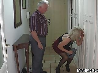 Old Couple Seduce Blonde Teen Into Cock Riding