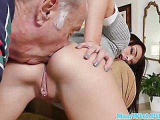 Rimmed Teen Riding Old Mans Cock Ontop