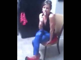Trashy 52 Year Old Slut Stepmom Tease And Smoke