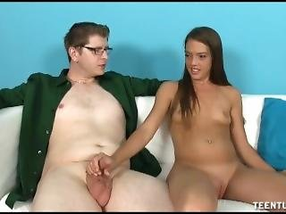 Old Man Interviews Teen Babe For Handjob Specialist