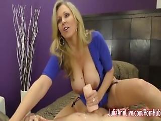 Busty Milf Julia Ann Jacks Him Off With Fake Pussy%21