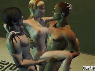 3d Animated Babe Loves Getting Tag Teamed By Two Men